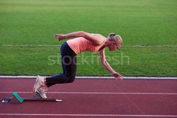 Nő kockák sportos útvonal oldalnézet test Stock fotó © dotshock