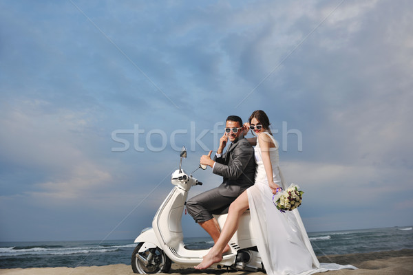 Stockfoto: Paar · strand · witte · bruiloft