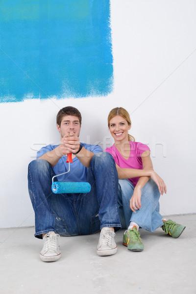 Photo stock: Heureux · jeunes · détente · peinture · nouvelle · maison