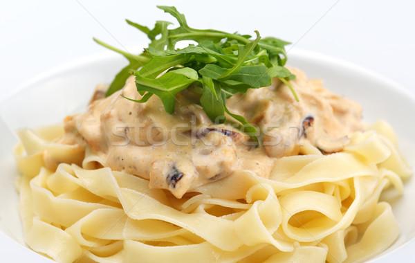 макароны сыра куриные грибы продовольствие лист Сток-фото © dotshock