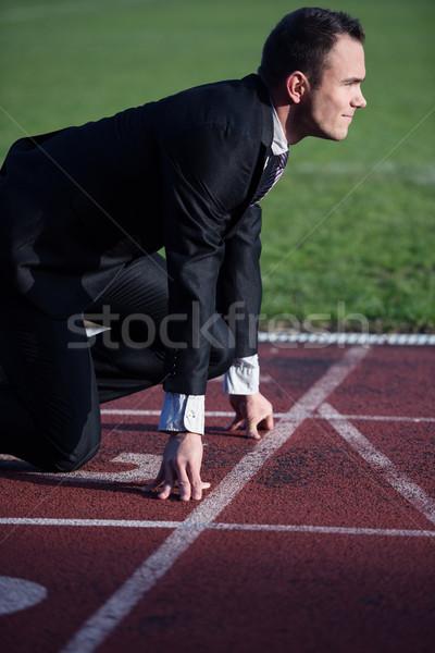 ビジネスマン 準備 スプリント 開始 位置 実行 ストックフォト © dotshock