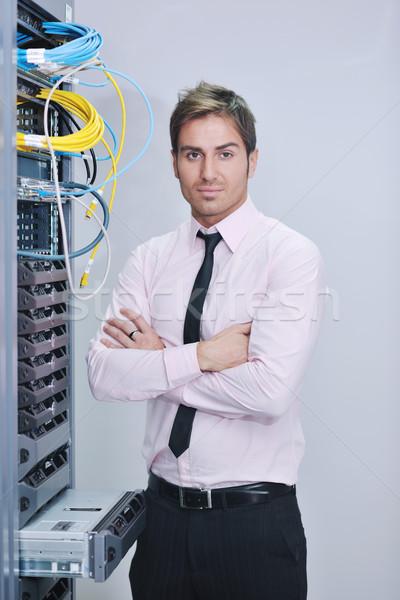 Stock fotó: Fiatal · mérnök · adatközpont · szerver · szoba · jóképű
