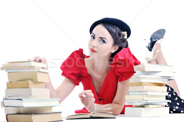 Foto stock: Belo · mulher · jovem · ler · livro · jovem · estudante