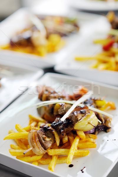 Smakelijk vlees stick grill bbq plantaardige Stockfoto © dotshock