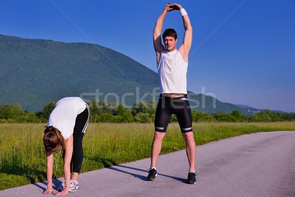 Paar oefening jogging jonge gezondheid Stockfoto © dotshock