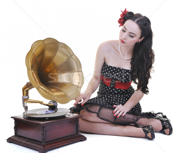 pretty girl listening music on old gramophone Stock photo © dotshock