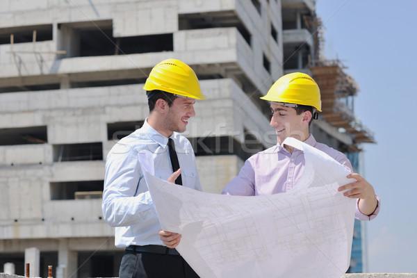Stock fotó: Csapat · helyszín · üzletemberek · csoport · építész · csekk