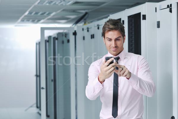 Stok fotoğraf: Konuşma · telefon · ağ · oda · genç · iş · adamı