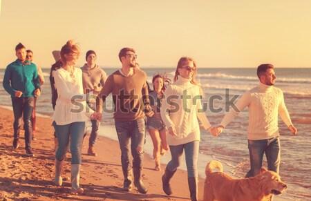 Сток-фото: счастливым · молодые · люди · группа · весело · пляж · запустить