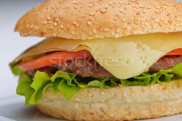 Hamburger martwa natura fast food menu frytki napój bezalkoholowy Zdjęcia stock © dotshock