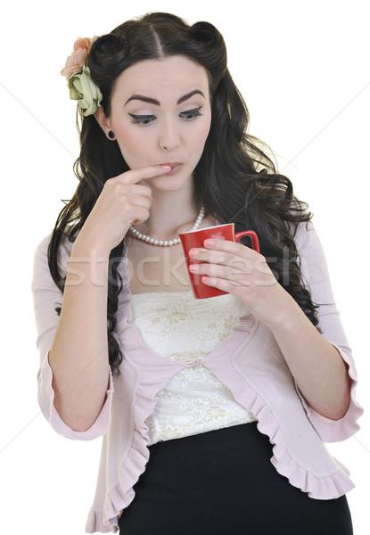 Photo stock: Belle · jeune · femme · rouge · café · isolé · blanche