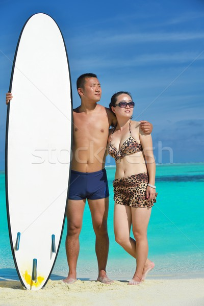 happy young  couple enjoying summer on beach Stock photo © dotshock