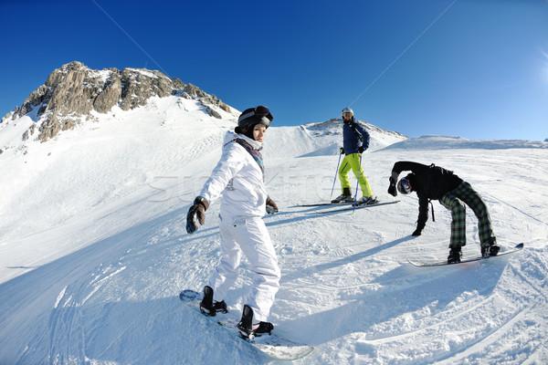 ストックフォト: 冬 · 肖像 · 友達 · スキー · 幸せな人々 · グループ