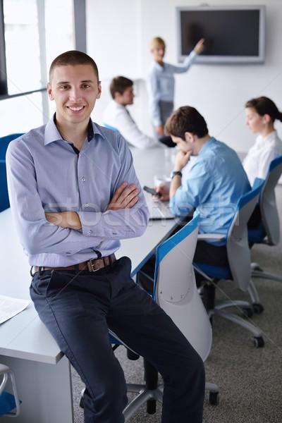 Photo stock: Homme · d'affaires · réunion · collègues · portrait · élégant · jeunes