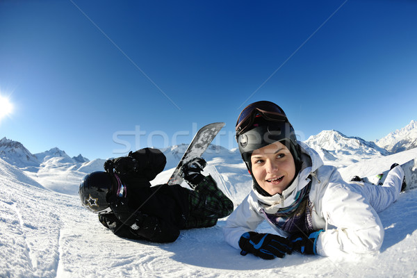 радости зимний сезон зима женщину лыжных спорт Сток-фото © dotshock