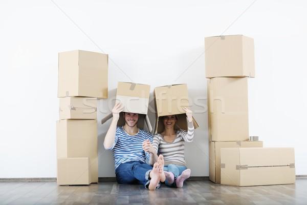 Movimiento feliz mujer casa Foto stock © dotshock
