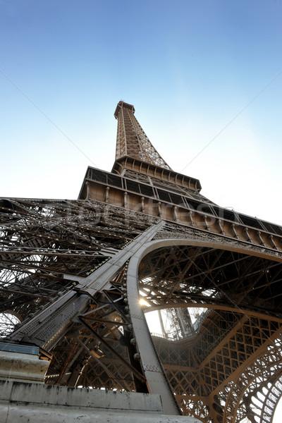 Stok fotoğraf: Eyfel · Kulesi · Paris · gün · dramatik · mavi · gökyüzü · turist
