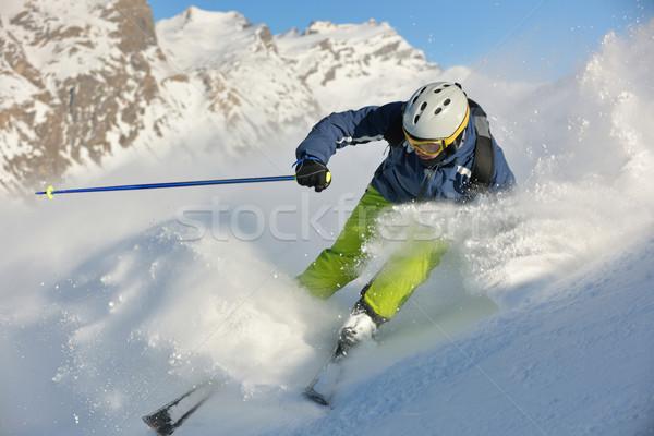 Сток-фото: лыжах · свежие · снега · зимний · сезон · красивой