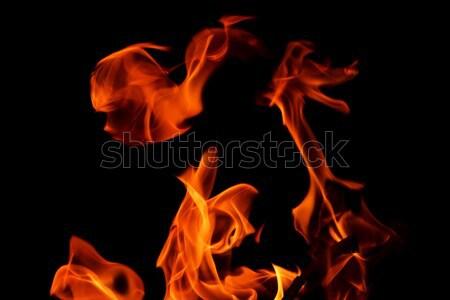 Feu flamme noir cadre bois nature Photo stock © dotshock