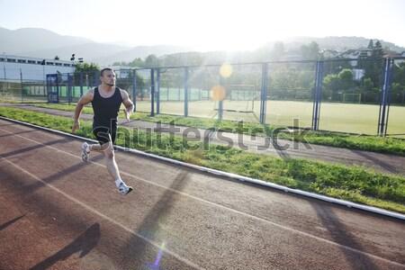 ストックフォト: 小さな · 選手 · を実行して · 健康 · 若い男 · 開始