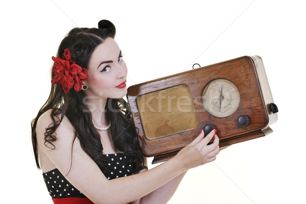 pretty girl listening music on  radio Stock photo © dotshock