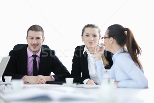 ストックフォト: グループ · 小さな · ビジネスの方々 · 会議 · 座って