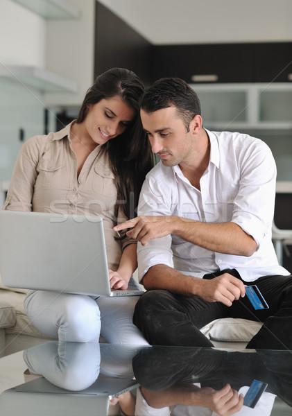 Radosny para relaks pracy laptop nowoczesne Zdjęcia stock © dotshock