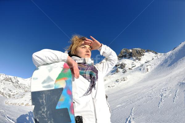 ストックフォト: 喜び · 冬季 · 冬 · 女性 · スキー · スポーツ