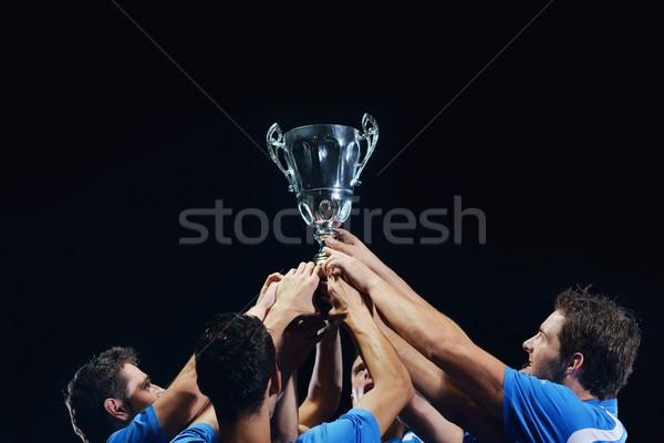 Foto stock: Fútbol · jugadores · victoria · equipo · grupo