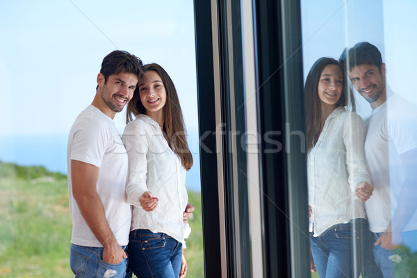relaxed young couple at home staircase Stock photo © dotshock