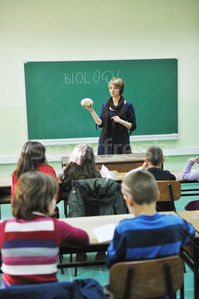 Leren biologie school gelukkig kinderen groep Stockfoto © dotshock