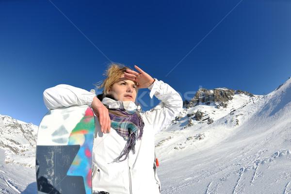 Joie saison d'hiver hiver femme ski sport Photo stock © dotshock