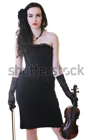 Gyönyörű fiatal hölgy játék hegedű boldog Stock fotó © dotshock