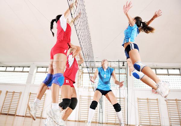 Stockfoto: Meisjes · spelen · volleybal · spel · sport