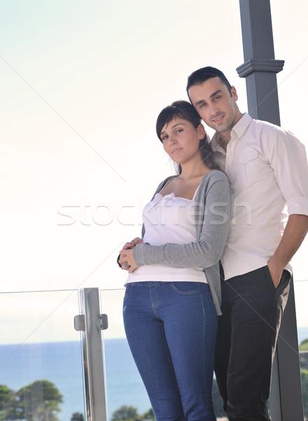 пару расслабляющая балкона счастливым любви Сток-фото © dotshock