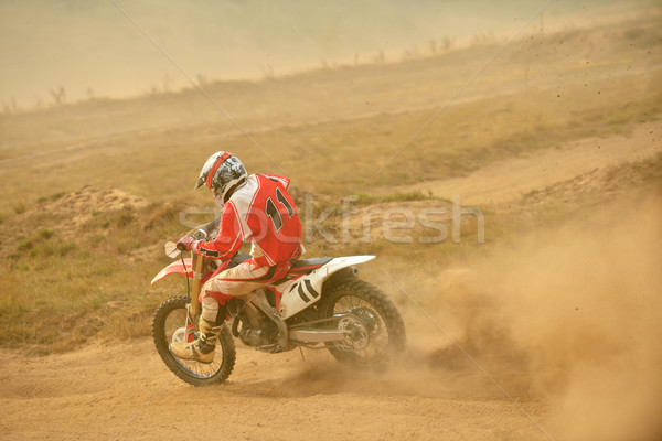 Motocross rowerów wyścigu prędkości moc ekstremalnych Zdjęcia stock © dotshock