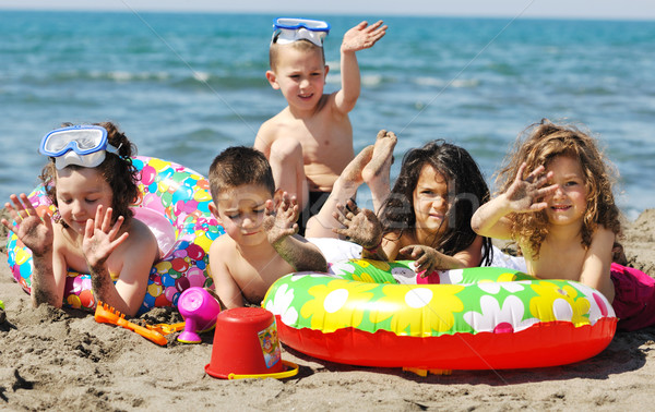 Photo stock: Enfant · groupe · amusement · jouer · plage · jouets