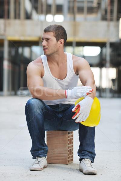 работник строительная площадка красивый люди портрет улыбка Сток-фото © dotshock
