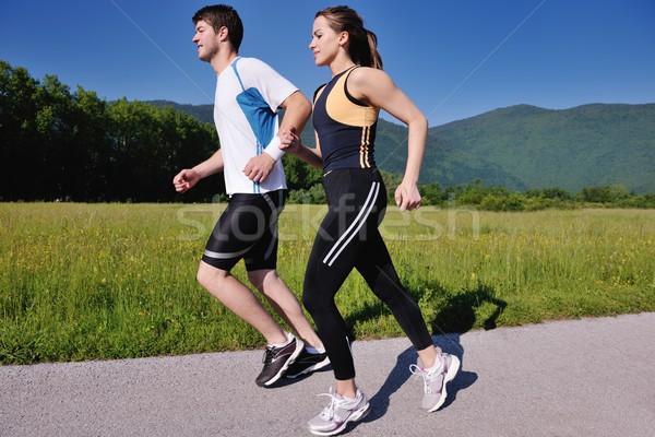 Jogging park sabah sağlık uygunluk Stok fotoğraf © dotshock