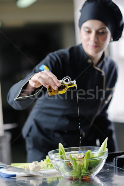 Сток-фото: повар · еды · красивой · молодые · женщину · вкусный