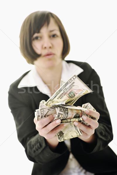 Stockfoto: Geld · gelukkig · jonge · zakenvrouw · geïsoleerd · witte