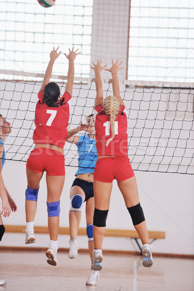 Photo stock: Filles · jouer · volleyball · jeu · sport