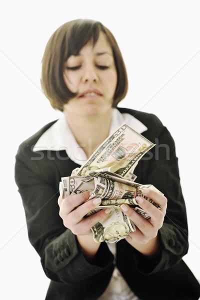 Stok fotoğraf: Para · mutlu · genç · iş · kadını · yalıtılmış · beyaz