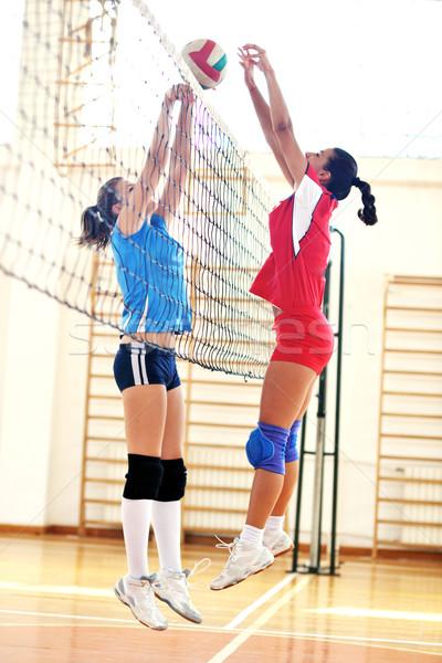 Foto stock: Meninas · jogar · voleibol · jogo · esportes