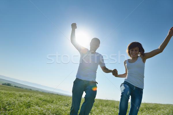 Boldog pár búzamező fiatal pér szeretet románc Stock fotó © dotshock
