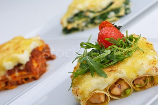 Лазанья традиционный Лазанья говядины соус болоньезе Сток-фото © dotshock