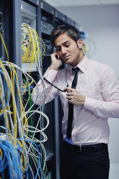 Stock fotó: Beszél · telefon · hálózat · szoba · fiatal · üzletember