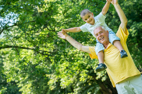 grandfather and child have fun  in park Stock photo © dotshock