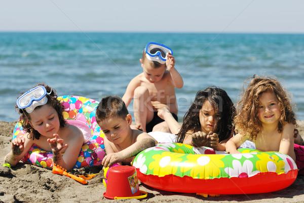 Foto stock: Criança · grupo · diversão · jogar · praia · brinquedos