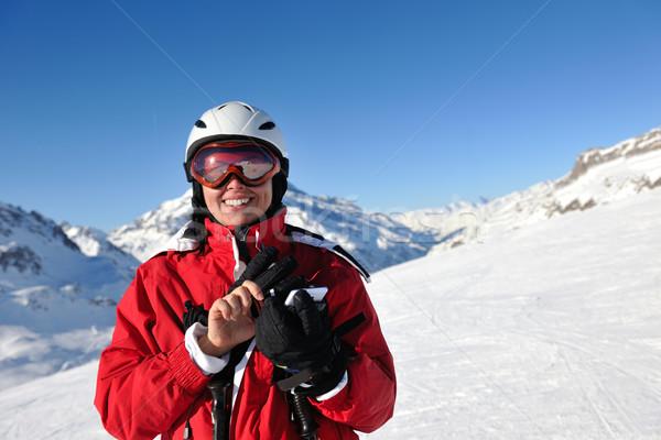 Sevinç kış sezonu kış kadın Kayak spor Stok fotoğraf © dotshock